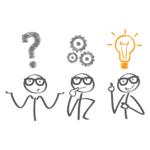 drei Strichmännchen mit Fragezeichen, Zahnrädern und Glühbirne über dem Kopf