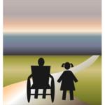 Rollstuhl auf Straße