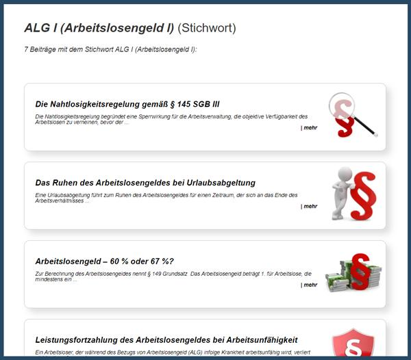 Screenshot Stichwortseite