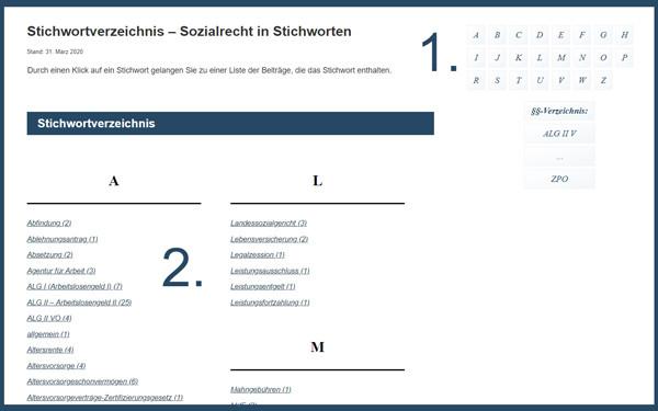 Screenshot Stichwortverzeichnis
