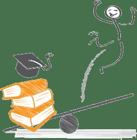 Männchen auf Wippe - gegenüber Bücher