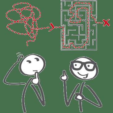 zwei Strichmännchen mit Labyrinth in Sprechblase