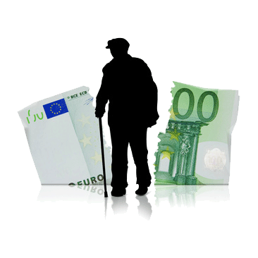 alter Mann mit Stock vor zerrissenem Geldschein