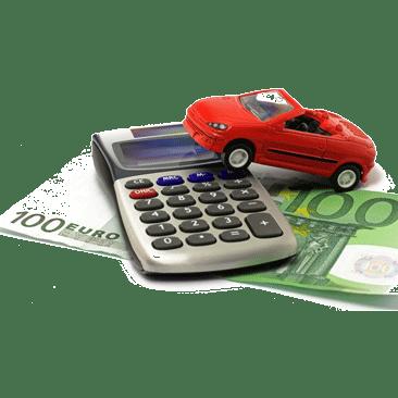 Auto auf Rechner und Geld
