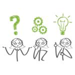 drei Frauen mit Fragezeichen, Zahnrädern und Glühbirne über dem Kopf