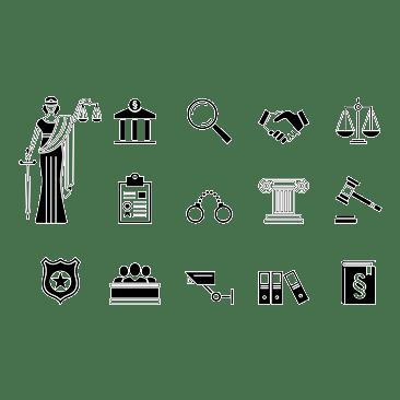 Gerichtssymbole - Justitia, Lupe, händedruck, Gesetzbuch, ...