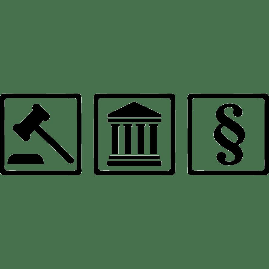 Gerichtssymbole, Hammer, Tempel, Paragraf