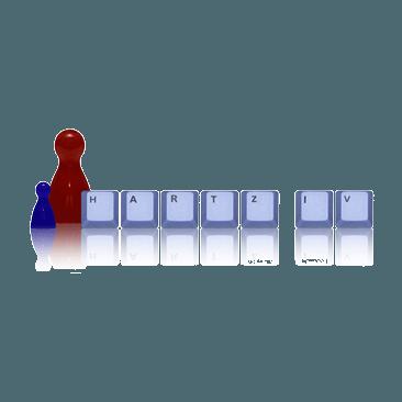 Hartz 4 auf Würfeln mit Spielsteinen