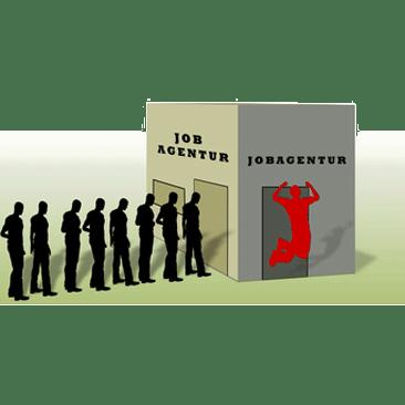Jobagentur - Menschenschlange