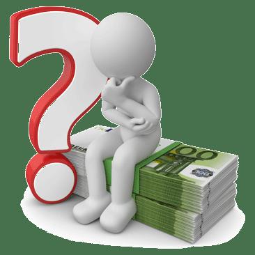 Fragezeichen, Männchen sitzend auf Geld