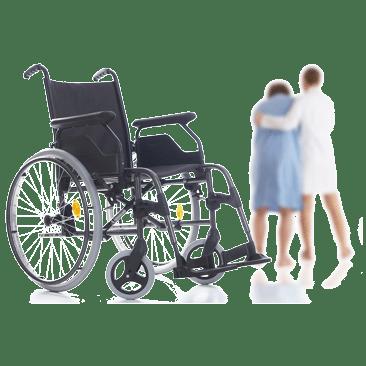 Rollstuhl mit Menschen