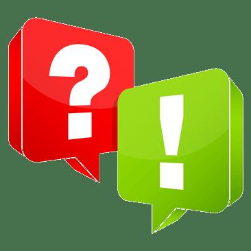Sprechblasen mit Ausrufezeichen und Fragezeichen
