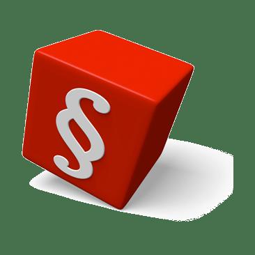 roter Würfel mit Paragrafenzeichen