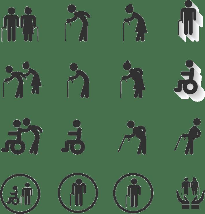 Zeichen Behindertenrecht: Frau und Mann mit Stock, mit Rollstuhl, ...